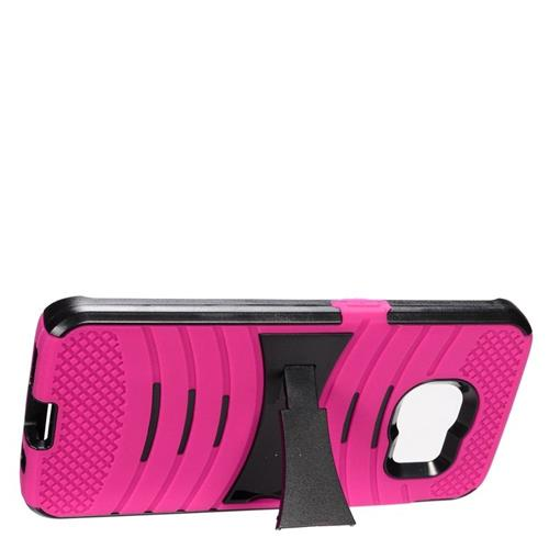 Insten Wave Hybrid Stand Rubber Silicone/PC Case For Samsung Galaxy S7 Edge, Hot Pink/Black