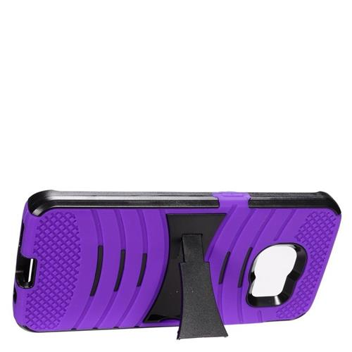 Insten Wave Hybrid Stand Rubber Silicone/PC Case For Samsung Galaxy S7 Edge, Purple/Black