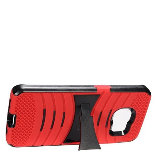 Insten Wave Hybrid Stand Rubber Silicone/PC Case For Samsung Galaxy S7 Edge, Red/Black