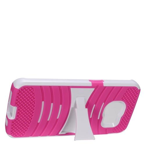 Insten Wave Hybrid Stand Rubber Silicone/PC Case For Samsung Galaxy S7 Edge, Hot Pink/White