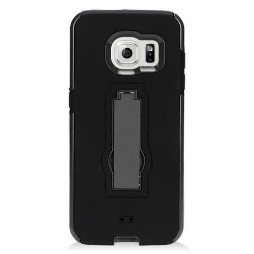 Insten Hybrid Stand Rubber Silicone/PC Case For Samsung Galaxy S7 Edge, Black