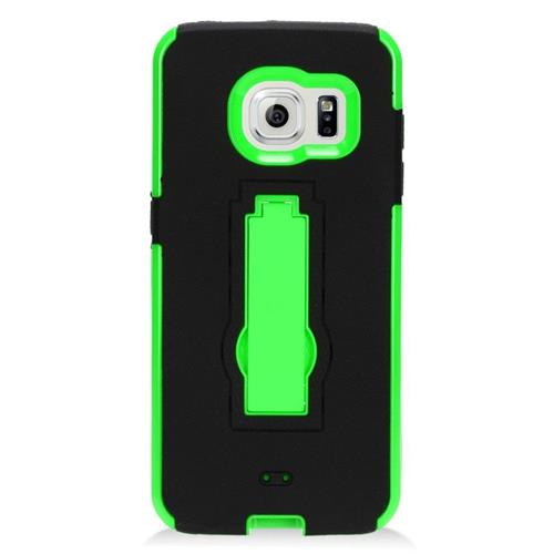 Insten Hybrid Stand Rubber Silicone/PC Case For Samsung Galaxy S7 Edge, Black/Green