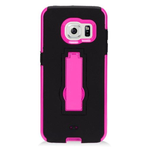 Insten Hybrid Stand Rubber Silicone/PC Case For Samsung Galaxy S7 Edge, Black/Hot Pink