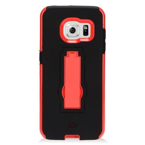 Insten Hybrid Stand Rubber Silicone/PC Case For Samsung Galaxy S7 Edge, Black/Red