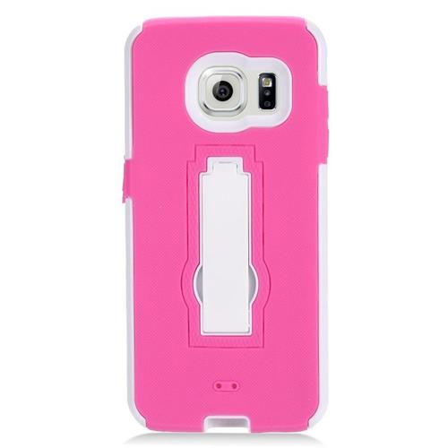 Insten Hybrid Stand Rubber Silicone/PC Case For Samsung Galaxy S7 Edge, Hot Pink/White