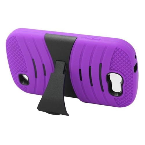 Insten Wave Hybrid Stand Rubber Silicone/PC Case For Samsung Galaxy Express SGH-i437, Purple/Black
