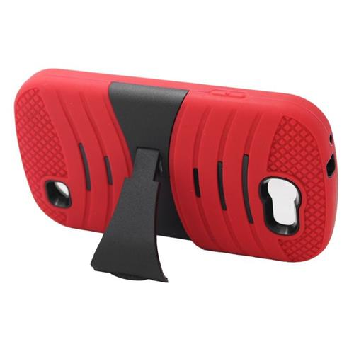 Insten Wave Hybrid Stand Rubber Silicone/PC Case For Samsung Galaxy Express SGH-i437, Red/Black