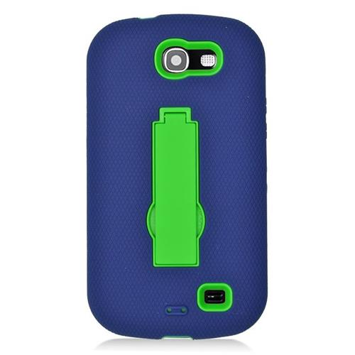 Insten Hybrid Stand Rubber Silicone/PC Case For Samsung Galaxy Express SGH-i437, Blue/Green