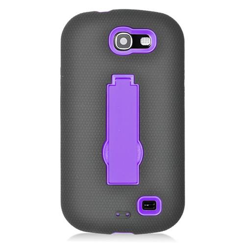 Insten Hybrid Stand Rubber Silicone/PC Case For Samsung Galaxy Express SGH-i437, Black/Purple