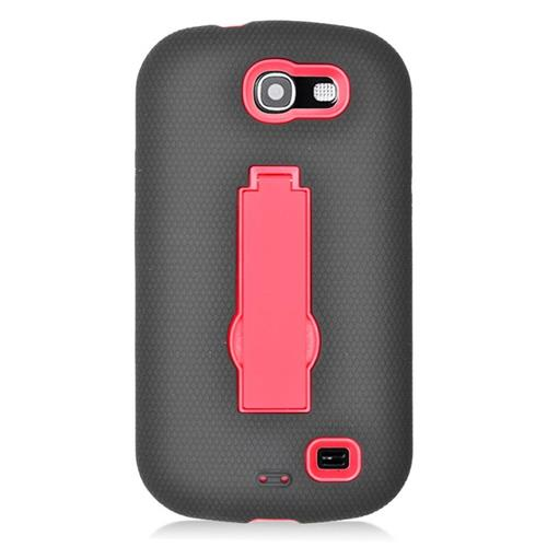 Insten Hybrid Stand Rubber Silicone/PC Case For Samsung Galaxy Express SGH-i437, Black/Red