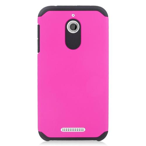 Insten Hybrid Rubberized Hard PC/Silicone Case For HTC Desire 510, Hot Pink/Black