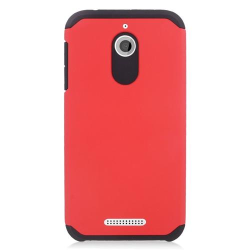 Insten Hybrid Rubberized Hard PC/Silicone Case For HTC Desire 510, Red/Black