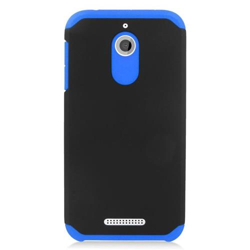 Insten Hybrid Rubberized Hard PC/Silicone Case For HTC Desire 510, Black/Blue