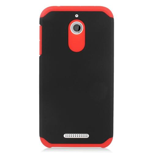 Insten Hybrid Rubberized Hard PC/Silicone Case For HTC Desire 510, Black/Red