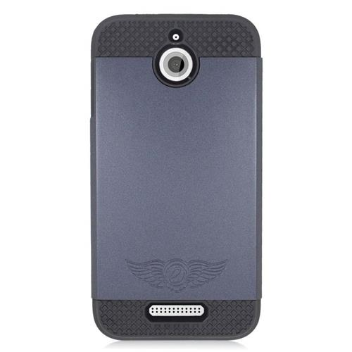 Insten Dual Layer Hybrid Rubberized Hard PC/Silicone Case Cover Compatible With HTC Desire 510, Grey