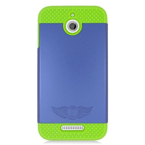 Insten Hybrid Rubberized Hard PC/Silicone Case For HTC Desire 510, Blue/Green