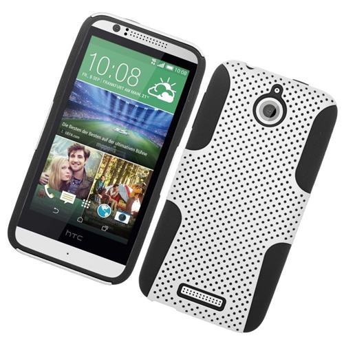 Insten Astronoot Hybrid Rubberized Hard PC/Silicone Case For HTC Desire 510, White/Black
