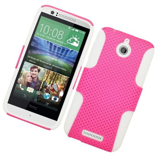 Insten Astronoot Hybrid Rubberized Hard PC/Silicone Case For HTC Desire 510, Pink/White