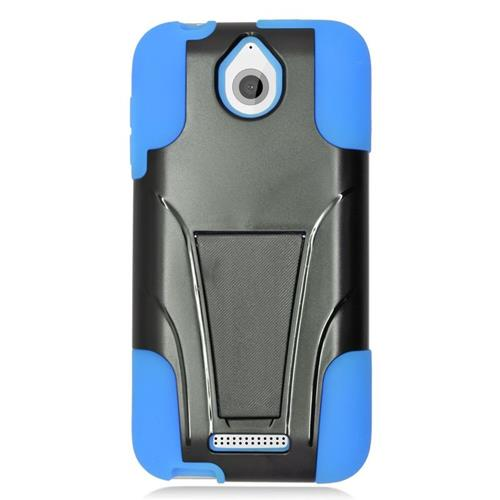Insten Dual Layer Hybrid Stand PC/Silicone Case Cover Compatible With HTC Desire 510, Black/Blue