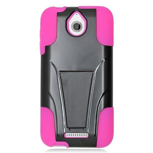 Insten Dual Layer Hybrid Stand PC/Silicone Case Cover Compatible With HTC Desire 510, Black/Hot Pink