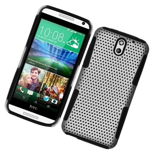 Insten Astronoot Hybrid Rubberized Hard PC/Silicone Case For HTC Desire 610/612 Verizon, White/Black