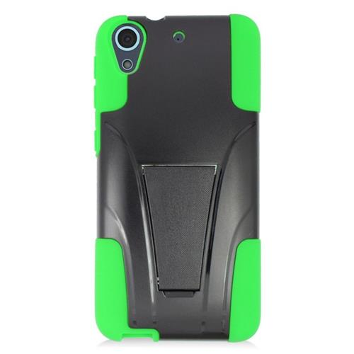 Insten Dual Layer Hybrid Stand PC/Silicone Case Cover Compatible With HTC Desire 626, Black/Green