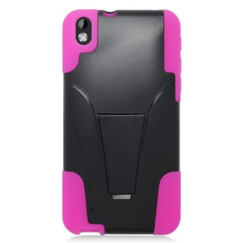 Insten Dual Layer Hybrid Stand PC/Silicone Case Cover Compatible With HTC Desire 816, Black/Pink