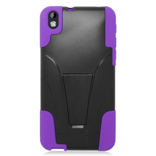 Insten Dual Layer Hybrid Stand PC/Silicone Case Cover Compatible With HTC Desire 816, Black/Purple