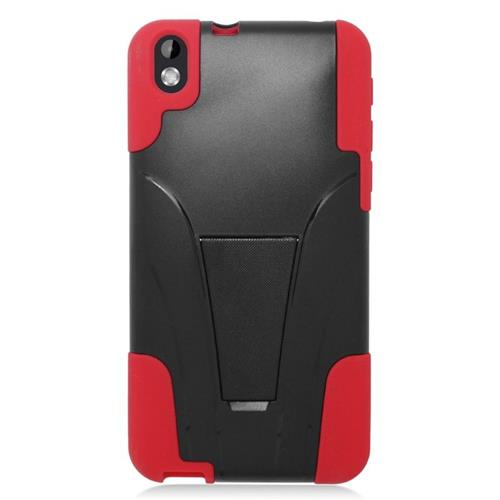 Insten Dual Layer Hybrid Stand PC/Silicone Case Cover Compatible With HTC Desire 816, Black/Red