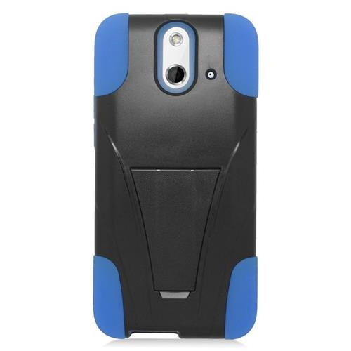 Insten Dual Layer Hybrid Stand PC/Silicone Case Cover Compatible With HTC One E8, Black/Blue