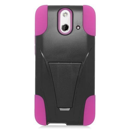 Insten Dual Layer Hybrid Stand PC/Silicone Case Cover Compatible With HTC One E8, Black/Pink