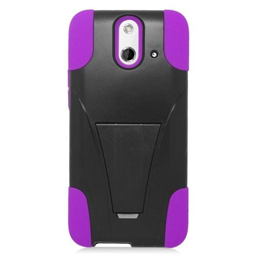 Insten Dual Layer Hybrid Stand PC/Silicone Case Cover Compatible With HTC One E8, Black/Purple