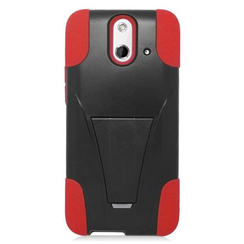 Insten Dual Layer Hybrid Stand PC/Silicone Case Cover Compatible With HTC One E8, Black/Red