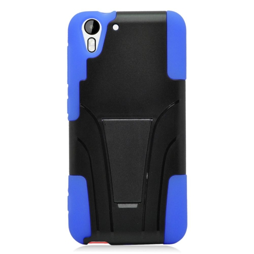 Insten Dual Layer Hybrid Stand PC/Silicone Case Cover Compatible With HTC Desire Eye, Black/Blue