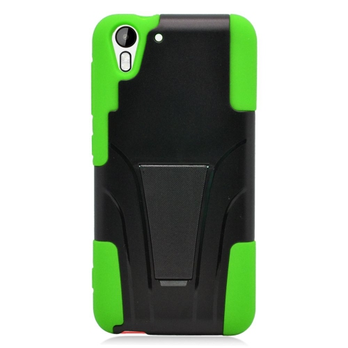 Insten Dual Layer Hybrid Stand PC/Silicone Case Cover Compatible With HTC Desire Eye, Black/Green