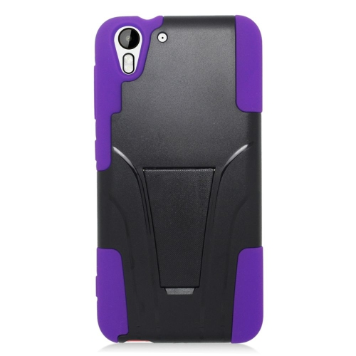 Insten Dual Layer Hybrid Stand PC/Silicone Case Cover Compatible With HTC Desire Eye, Black/Purple