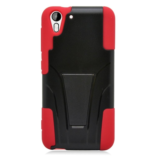 Insten Dual Layer Hybrid Stand PC/Silicone Case Cover Compatible With HTC Desire Eye, Black/Red