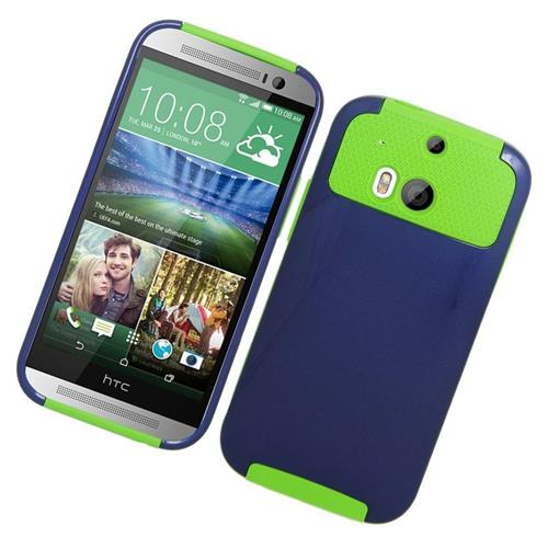 Insten Hybrid Rubberized Hard PC/Silicone Case For HTC One M8, Blue/Green