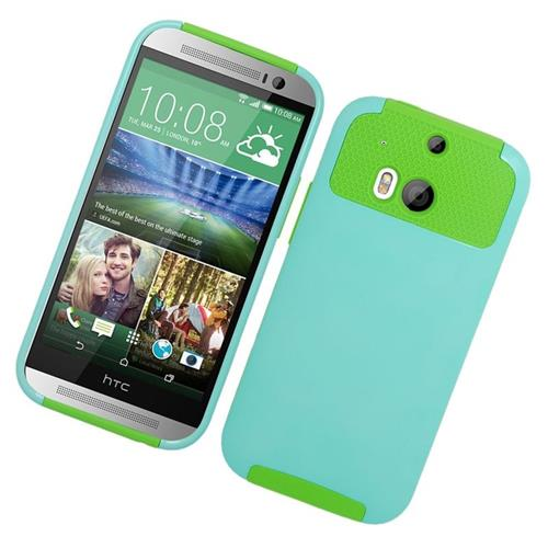 Insten Hybrid Rubberized Hard PC/Silicone Case For HTC One M8, Mint/Green