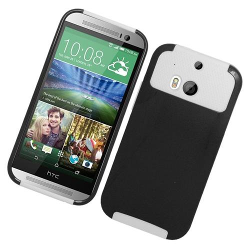 Insten Hybrid Rubberized Hard PC/Silicone Case For HTC One M8, Black/White