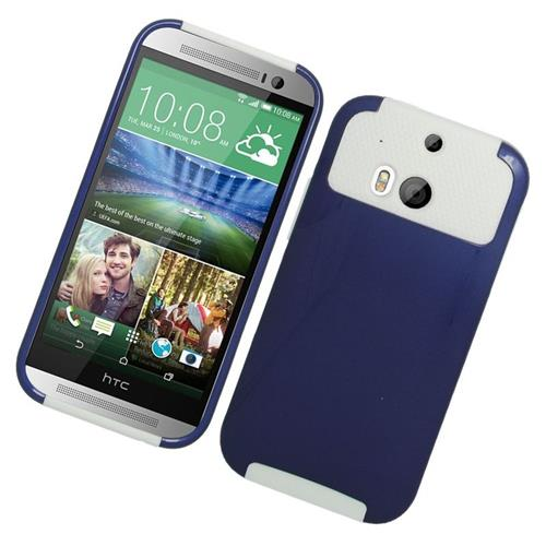 Insten Hybrid Rubberized Hard PC/Silicone Case For HTC One M8, Blue/White