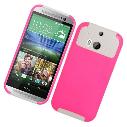 Insten Hybrid Rubberized Hard PC/Silicone Case For HTC One M8, Pink/White