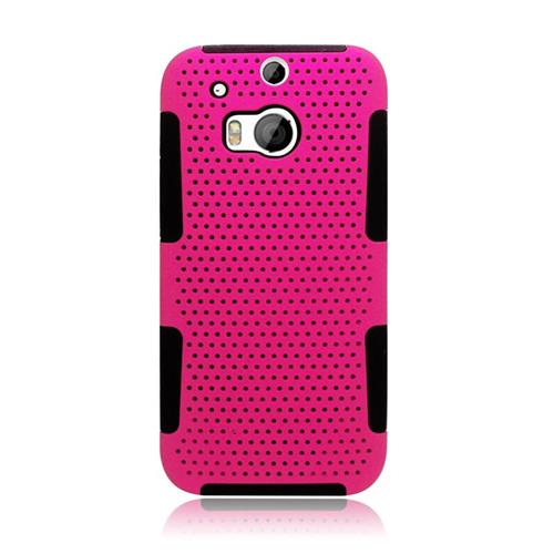 Insten Astronoot Hybrid Rubberized Hard PC/Silicone Case For HTC One M8, Hot Pink/Black