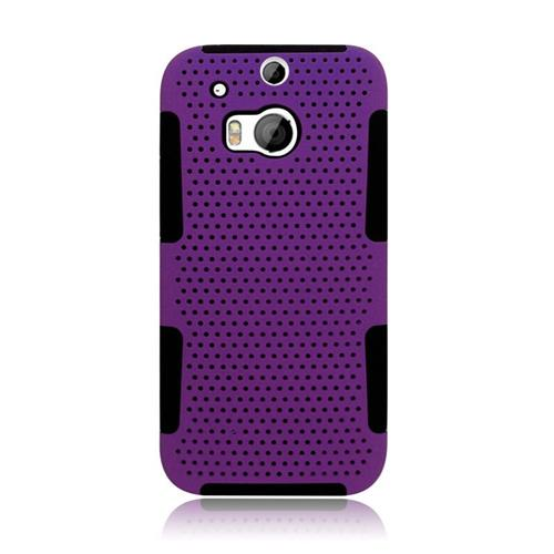 Insten Astronoot Hybrid Rubberized Hard PC/Silicone Case For HTC One M8, Purple/Black