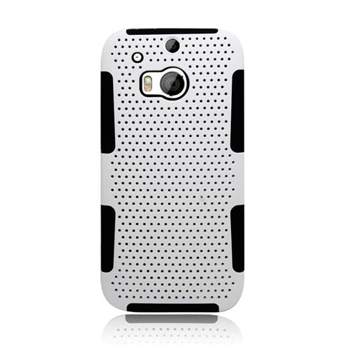 Insten Astronoot Hybrid Rubberized Hard PC/Silicone Case For HTC One M8, White/Black