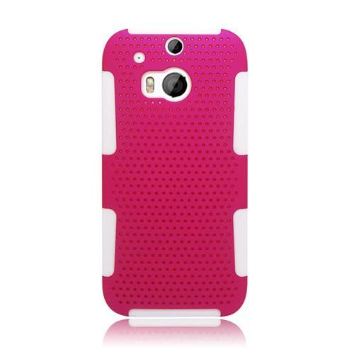Insten Astronoot Hybrid Rubberized Hard PC/Silicone Case For HTC One M8, Hot Pink/White