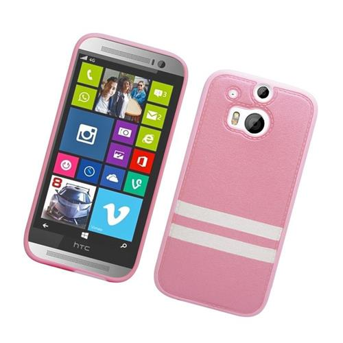 Insten Leather Case Cover Compatible With HTC One M8, Pink/White