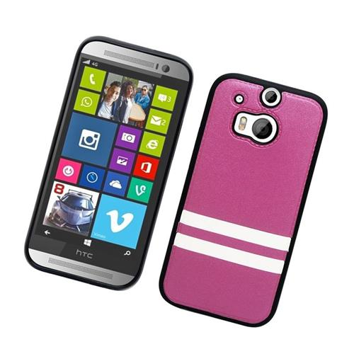 Insten Leather Case Cover Compatible With HTC One M8, Hot Pink/White
