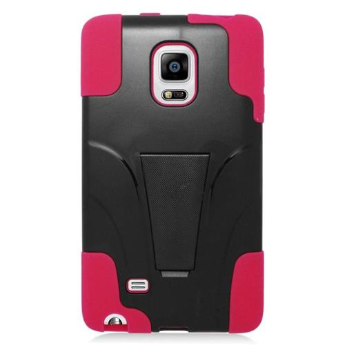 Insten Hybrid Stand PC/Silicone Case For Samsung Galaxy Note Edge, Black/Hot Pink