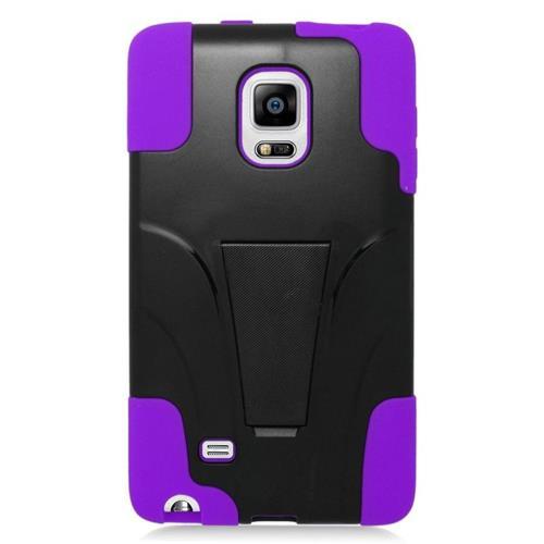 Insten Hybrid Stand PC/Silicone Case For Samsung Galaxy Note Edge, Black/Purple